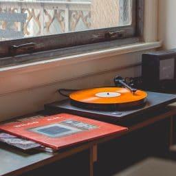 A vintage vinyl record player.